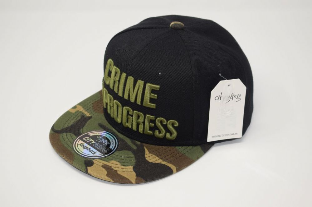 C4888- 'CRIME IN PROGRESS' Black/Camouflage Snapback Cap one size fits all adjustable